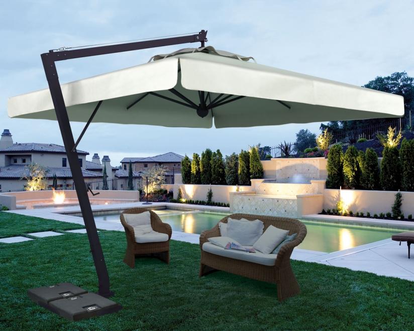 sonnenschirm scolaro leonardo braccio 4x4 ampelschirm alu hanging parasol vom sonnenschirm. Black Bedroom Furniture Sets. Home Design Ideas