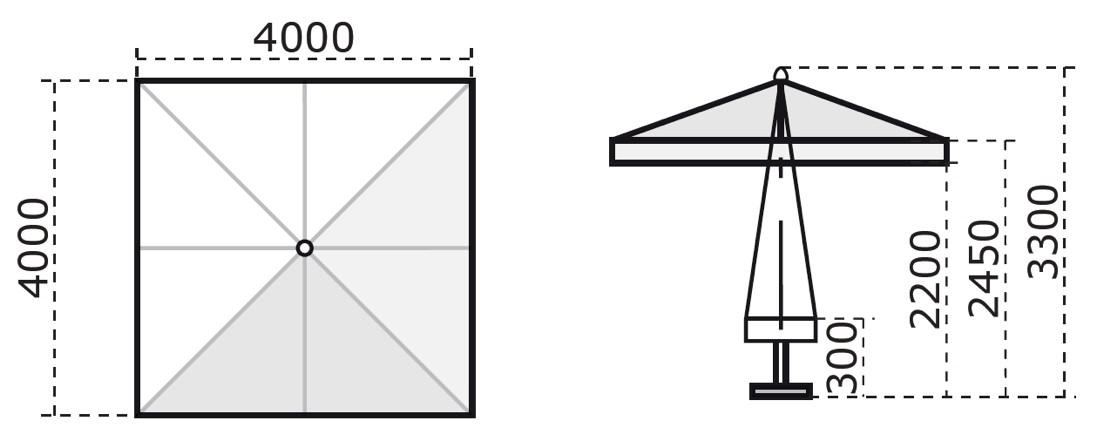 sonnenschirm scolaro palladio standard 4x4 stockschirm holzschirm parasol vom sonnenschirm. Black Bedroom Furniture Sets. Home Design Ideas