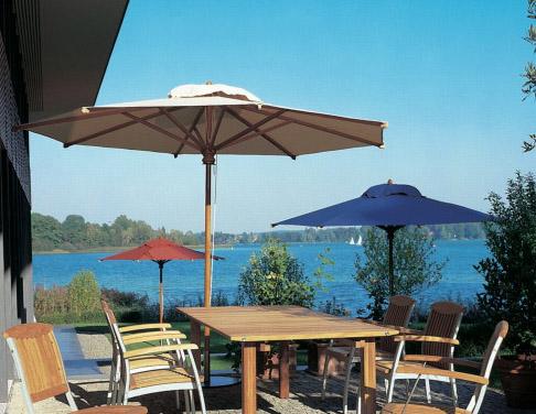 holz sonnenschirm fischer woodline stockschirm 350 cm 8 tlg rund parasol vom sonnenschirm. Black Bedroom Furniture Sets. Home Design Ideas