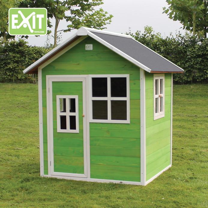 Schwedenhaus grün  Kinder-Spielhaus EXIT «Loft 100» Kinderspielhaus Holzhaus rot ...