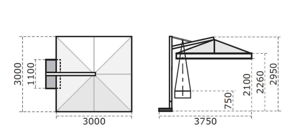 sonnenschirm scolaro galileo dark 3x3 ampelschirm. Black Bedroom Furniture Sets. Home Design Ideas